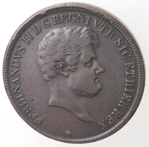 obverse: Napoli. Ferdinando II. 1830-1859. 5 Tornesi 1845. 5 ribattuto 3. Ae.