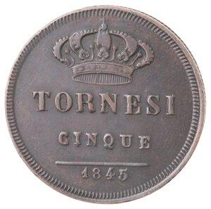 reverse: Napoli. Ferdinando II. 1830-1859. 5 Tornesi 1845. 5 ribattuto 3. Ae.