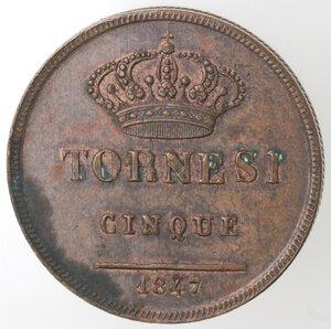 reverse: Napoli. Ferdinando II. 1830-1859. 5 Tornesi 1847. Ae.