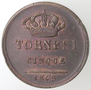 reverse: Napoli. Ferdinando II. 1830-1859. 5 Tornesi 1849. Ae.
