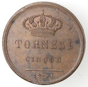 reverse: Napoli. Ferdinando II. 1830-1859. 5 Tornesi 1851. Ae.