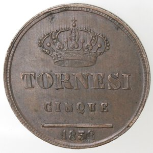 reverse: Napoli. Ferdinando II. 1830-1859. 5 Tornesi 1858. Ae.