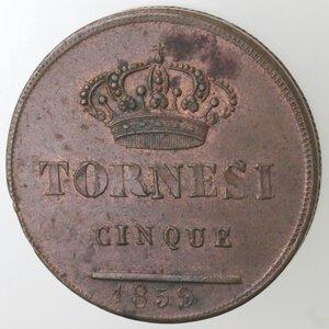 reverse: Napoli. Ferdinando II. 1830-1859. 5 Tornesi 1859. Ae.