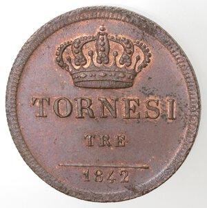 reverse: Napoli. Ferdinando II. 1830-1859. 3  Tornesi 1842. Ae.