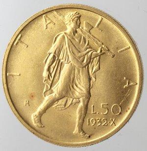 reverse: Vittorio Emanuele III. 1900-1943.50 Lire 1932 Anno X. Au.