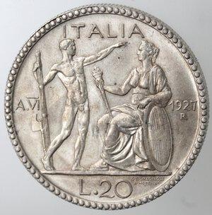 reverse: Vittorio Emanuele III. 1900-1943. 20 Lire 1927 Littore. Ag.