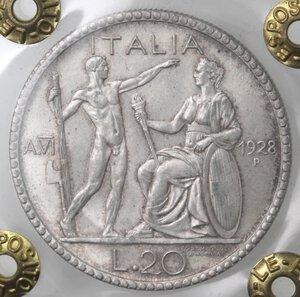 reverse: Vittorio Emanuele III. 1900-1943. 20 Lire 1928 Littore. Ag.
