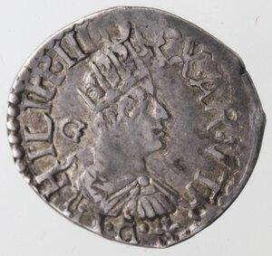 obverse: Napoli. Filippo III. 1598-1621. Mezzo Carlino. sigle GF dietro la testa e I GF sotto la testa.Ag.