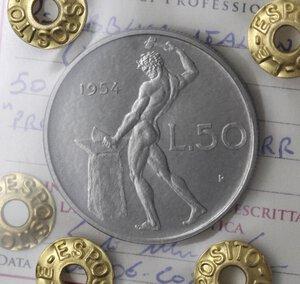 Repubblica Italiana. 50 lire 1954. Prova. Ac.