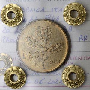 reverse: Repubblica Italiana. 20 lire 1968. Prova. BR.