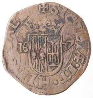 reverse: Napoli. Filippo IV. 1621-1665.Grano 1637.Ae.
