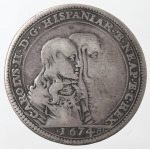 obverse: Napoli. Carlo II Minorenne con la Madre Reggente Marianna d Austria. 1665-1674. Tarì 1674. Ag.