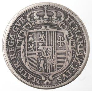 reverse: Napoli. Carlo II Minorenne con la Madre Reggente Marianna d Austria. 1665-1674. Tarì 1674. Ag.
