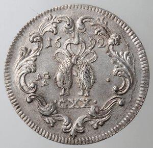reverse: Napoli. Carlo II. 1674-1700. Tarì 1692. Ag.