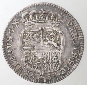 reverse: Napoli. Carlo II. 1674-1700. Carlino 1689. Ag.