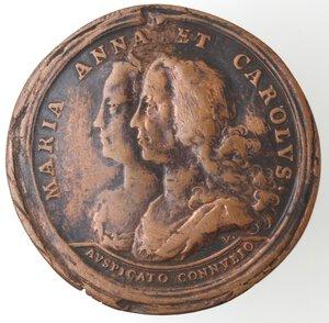 obverse: Carlo II e Maria Anna. Placca uniface per il secondo matrimonio 1689. Ae. Coniata in Austria.
