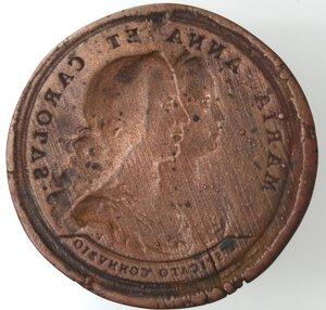 reverse: Carlo II e Maria Anna. Placca uniface per il secondo matrimonio 1689. Ae. Coniata in Austria.