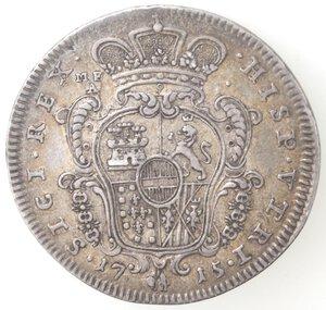reverse: Napoli. Carlo VI. 1711-1734. Mezzo Ducato 1715. Ag.