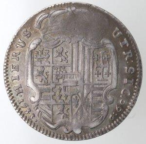 reverse: Napoli. Carlo VI. 1711-1734. Mezza Piastra 1733. Ag.