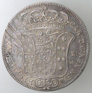 obverse: Napoli. Carlo di Borbone. 1734-1759. Piastra 1735 NEAP. Sebeto. Ag.
