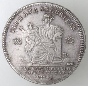 reverse: Napoli. Carlo di Borbone. 1734-1759. Piastra 1747. Firmata Securitas. Ag.