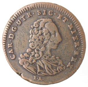 obverse: Napoli. Carlo di Barbone. 1734-1759. Pubblica da 3 Tornesi 1757. Ae.