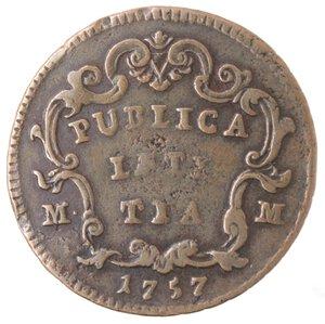 reverse: Napoli. Carlo di Barbone. 1734-1759. Pubblica da 3 Tornesi 1757. Ae.