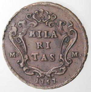 reverse: Napoli. Carlo di Borbone. 1734-1759. Tornese 1757. Ae.