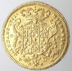 reverse: Napoli. Ferdinando IV. 1759-1798. 6 Ducati 1761. Au.