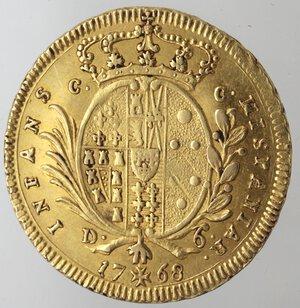 reverse: Napoli. Ferdinando IV. 1759-1799. 6 Ducati 1768 Senza sigle. Au.
