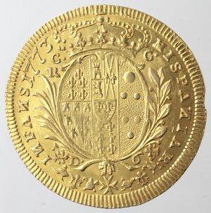reverse: Napoli. Ferdinando IV. 1759-1798. 6 Ducati 1773. Au.
