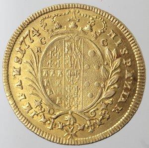 reverse: Napoli. Ferdinando IV. 1759-1799. 6 Ducati 1774. Au.
