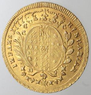 reverse: Napoli. Ferdinando IV. 1759-1799. 6 Ducati 1777. Au.