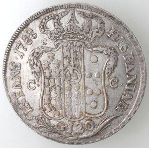 reverse: Napoli.Ferdinando IV. 1759-1798.Piastra 1788 P punto, gigli rovesciati. Ag.