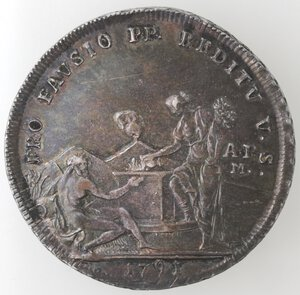 reverse: Napoli.Ferdinando IV (1759-1798).Piastra 1791  PRO FAUSTO .Ag.