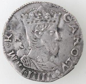 obverse: Napoli. Carlo V. 1516-1554. Carlino. R dietro la testa. Ag.