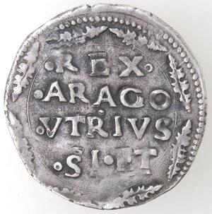 reverse: Napoli. Carlo V. 1516-1554. Carlino. R dietro la testa. Ag.