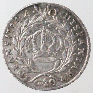 reverse: Napoli. Ferdinando IV. 1759-1799. Tari  1794. Ag.