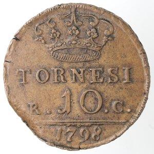reverse: Napoli. Ferdinando IV. 1759-1798. 10 Tornesi1798. Ae.