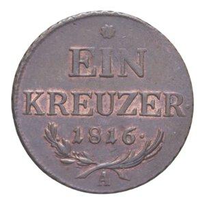 reverse: AUSTRIA FRANCESCO I 1 KREUZER 1816 A CU 8,44 GR. SPL+