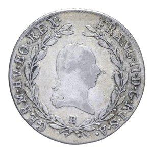 obverse: AUSTRIA FRANCESCO II 20 KREUZER 1803 B AG. 6,61 GR. Qbb