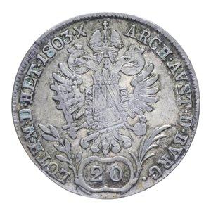 reverse: AUSTRIA FRANCESCO II 20 KREUZER 1803 B AG. 6,61 GR. Qbb