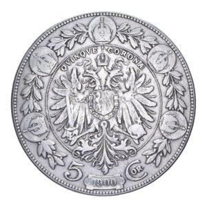 reverse: AUSTRIA FRANCESCO GIUSEPPE I 5 CORONA 1900 AG. 23,80 GR. BB
