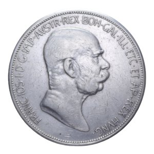 obverse: AUSTRIA FRANCESCO GIUSEPPE I 5 CORONA 1908 AG. 23,90 GR. BB