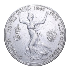 reverse: AUSTRIA FRANCESCO GIUSEPPE I 5 CORONA 1908 AG. 23,90 GR. BB
