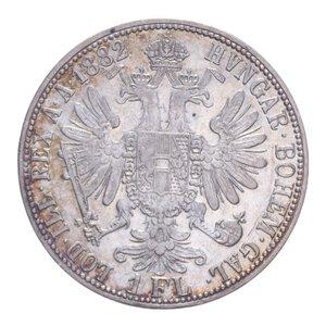 reverse: AUSTRIA FRANCESCO GIUSEPPE I 1 FLORIN 1882 AG. 12,30 GR. BB+