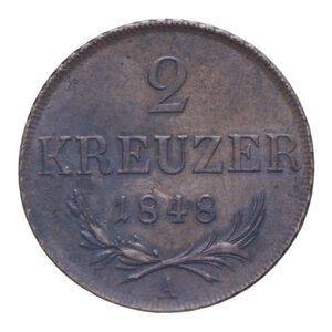 reverse: AUSTRIA FRANCESCO GIUSEPPE I 2 KREUZER 1848 CU 17,32 GR. SPL