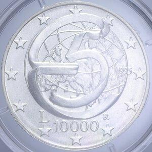 reverse: 10000 LIRE 1995 CONFERENZA DI MESSINA AG. 22 GR. IN COFANETTO FDC