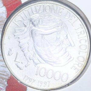 reverse: 10000 LIRE 1997 TRICOLORE AG. 22 GR. IN FOLDER FDC