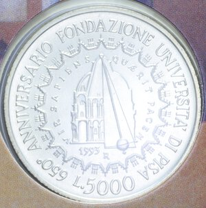 reverse: 5000 LIRE 1993 UNIVERSITA  PISA AG. 18 GR. IN FOLDER FDC